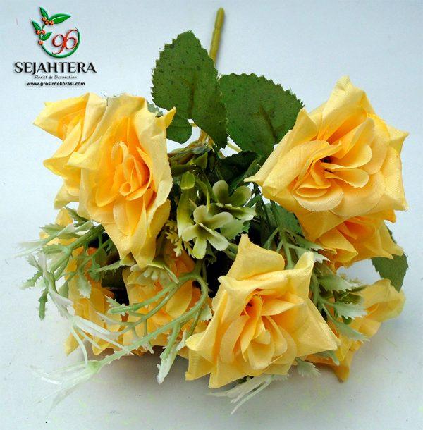 rose star artificial cabang 5 warna kuning