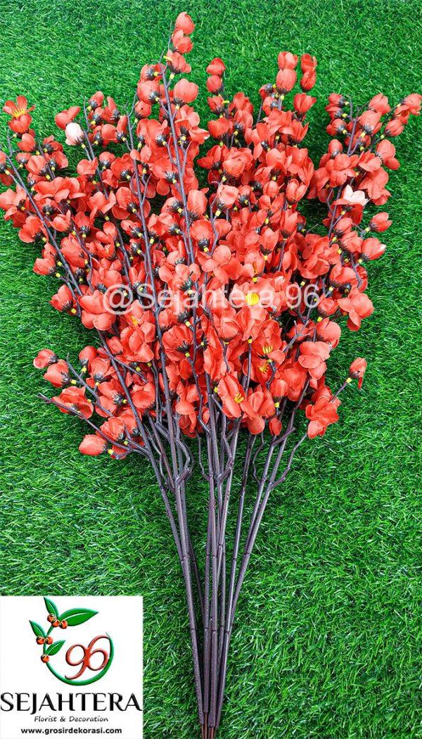 bunga plastik sakura merah