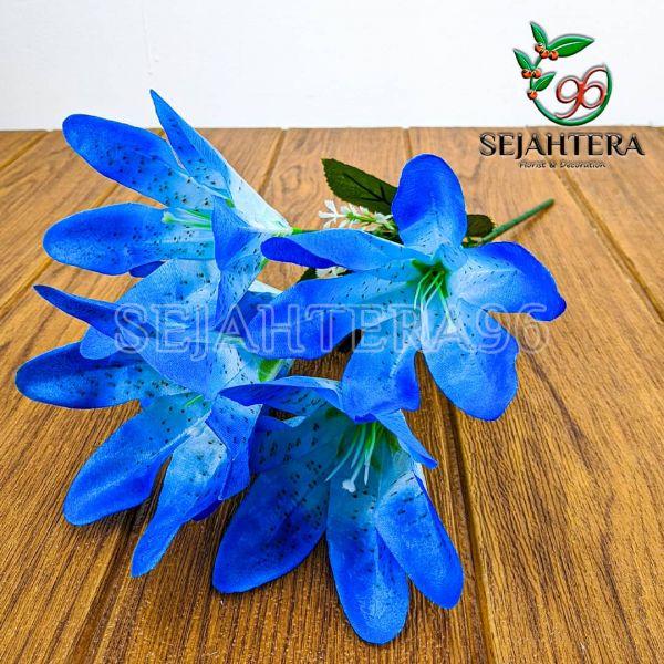 Bunga Lily Mini Cabang 5 Biru