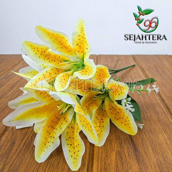 Bunga Lily Mini Cabang 5 Kuning