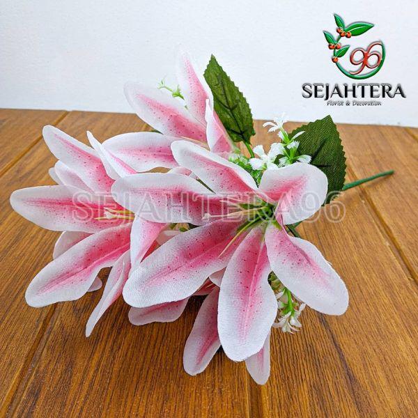 Bunga Lily Mini Cabang 5 Pink
