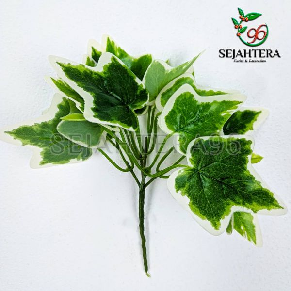 Daun Ivy Mini Hijau List putih artificial