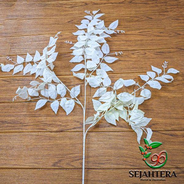 Daun mawar autumn cabang 3 putih tulang